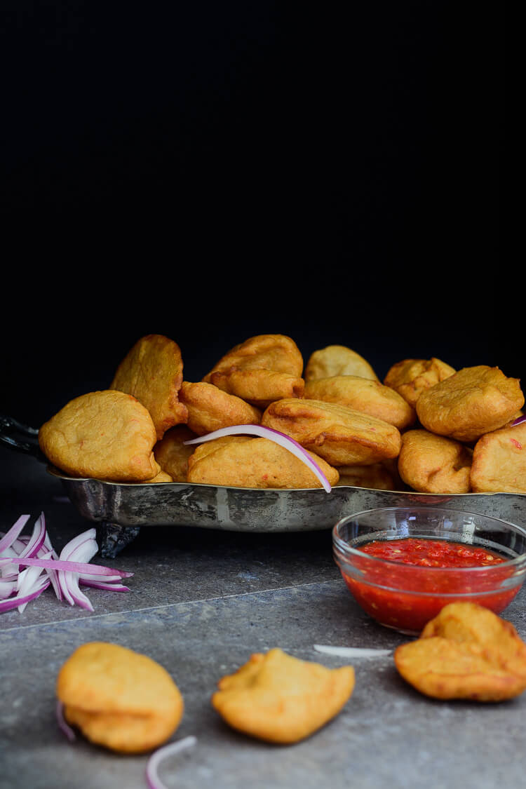 bean fritters (Accara) served with spicy kaani sauce