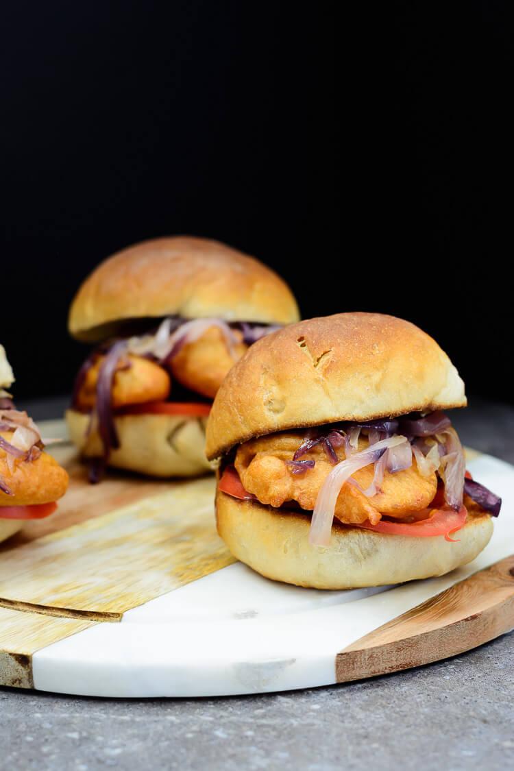 3 delicious Akara burgers on a tray