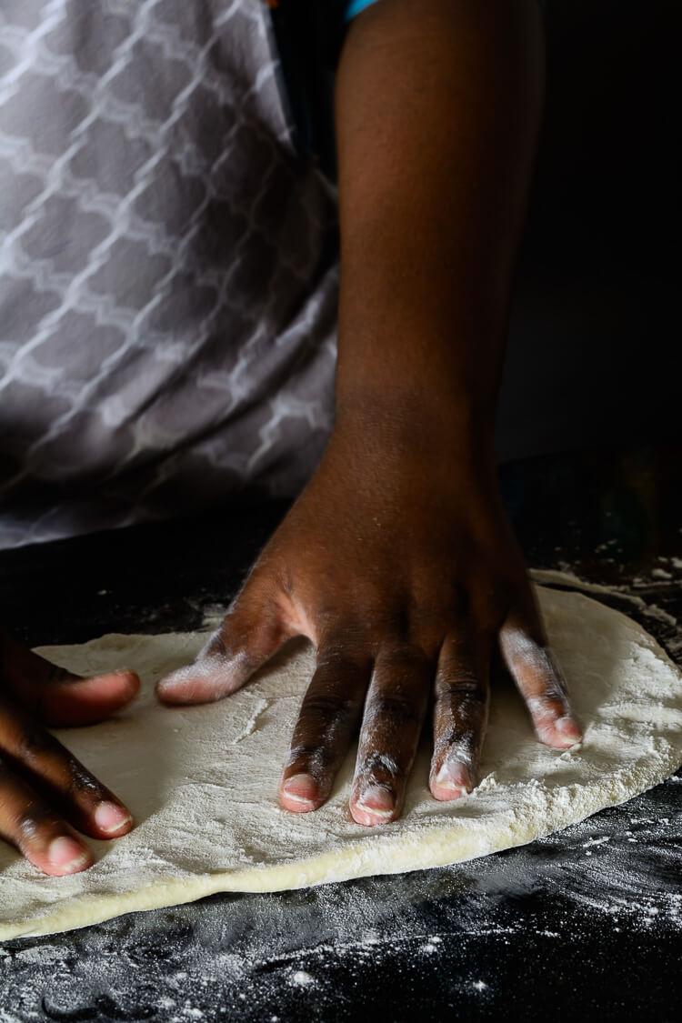Jerk Spiced Mushroom pizza - preparing the dough