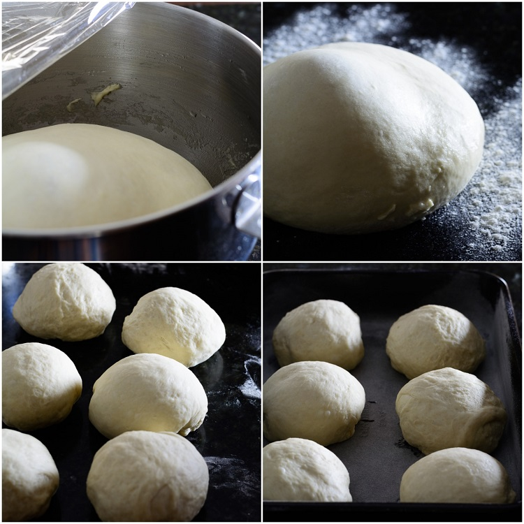 Ghana Sugar Bread Rolls Dough mix collage - mixed dough in pot, mixed dough on surface, mixed dough divided into 6, 6 mixed dough in baking pan