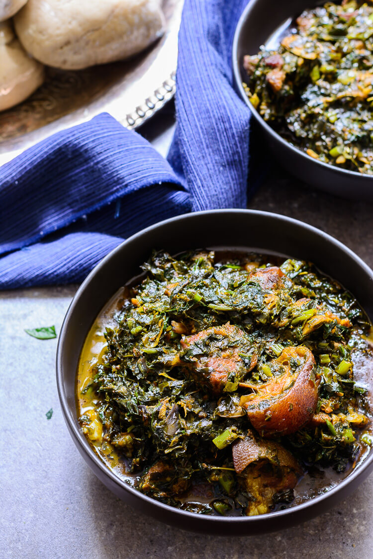 Overhead shot of two bowls of afang soup