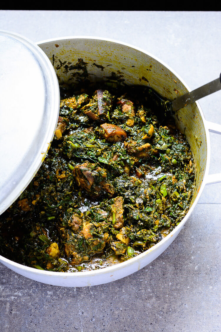 Nigerian Afang Soup: A Delicious Ibibio Vegetable - Overhead view of pot with Afang stew ready