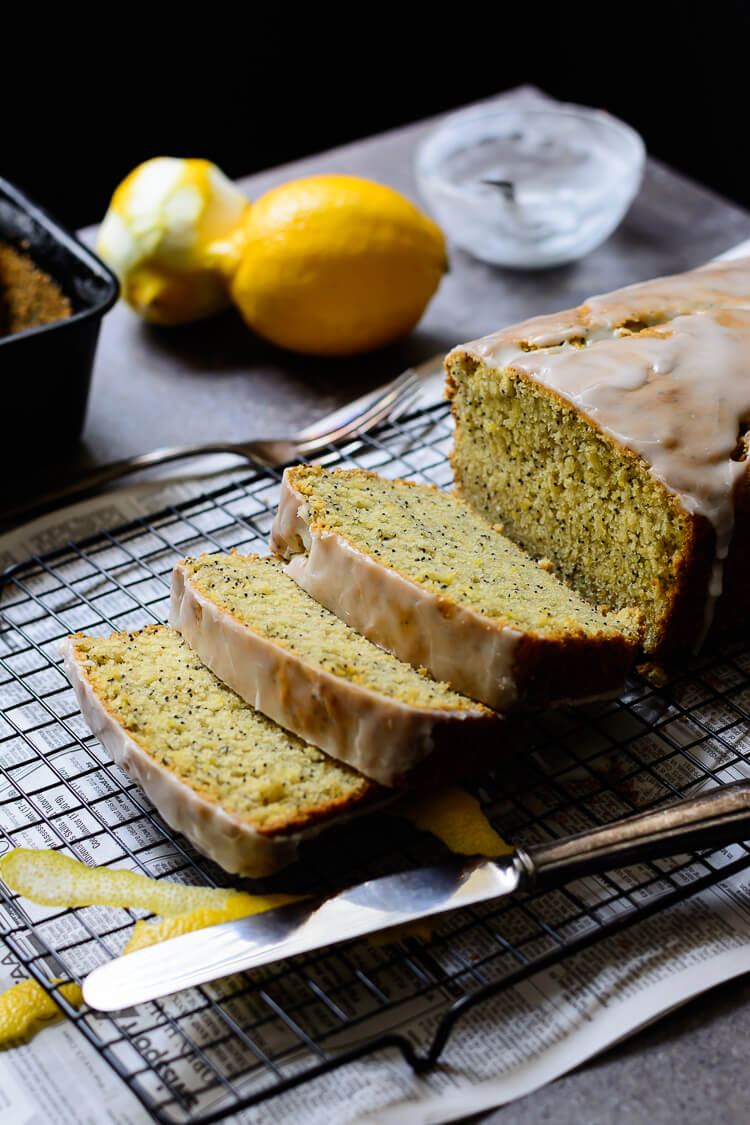 vegan lemon poppy seed loaf cake - 3 delicious slices of loaf and lemon cake on grill
