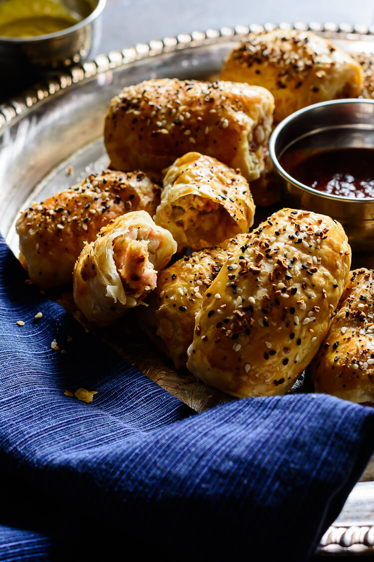 Pancetta and Chicken Sausage Rolls - laid out