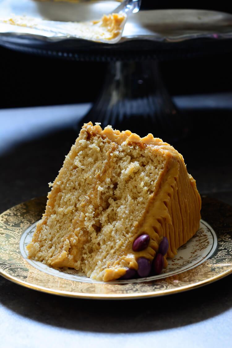 Vanilla Malt Cake with Caramel Cream Cheese Frosting - close up slice
