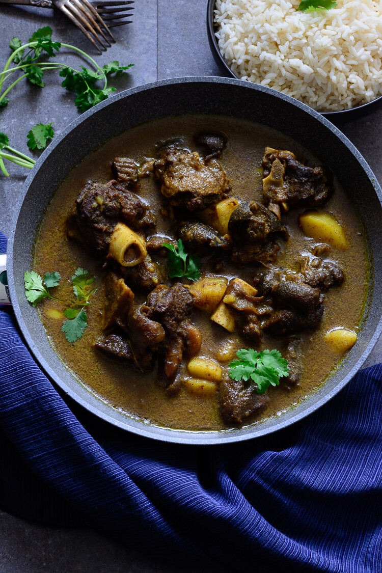 Jamaican Curry Goat served on a plate