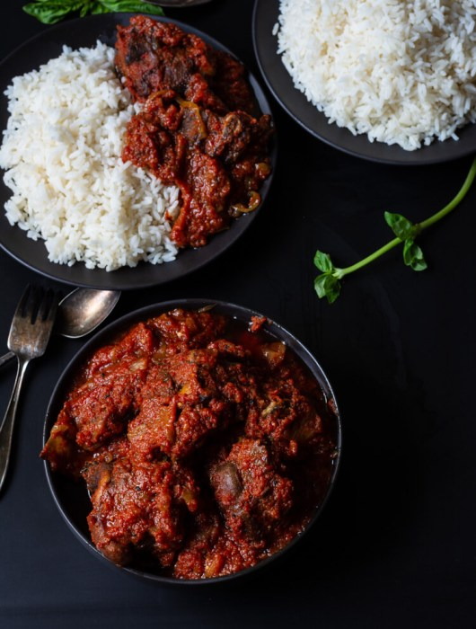 Nigerian Tomato Stew with Ram Meat (Lamb tomato Stew) - served with rice