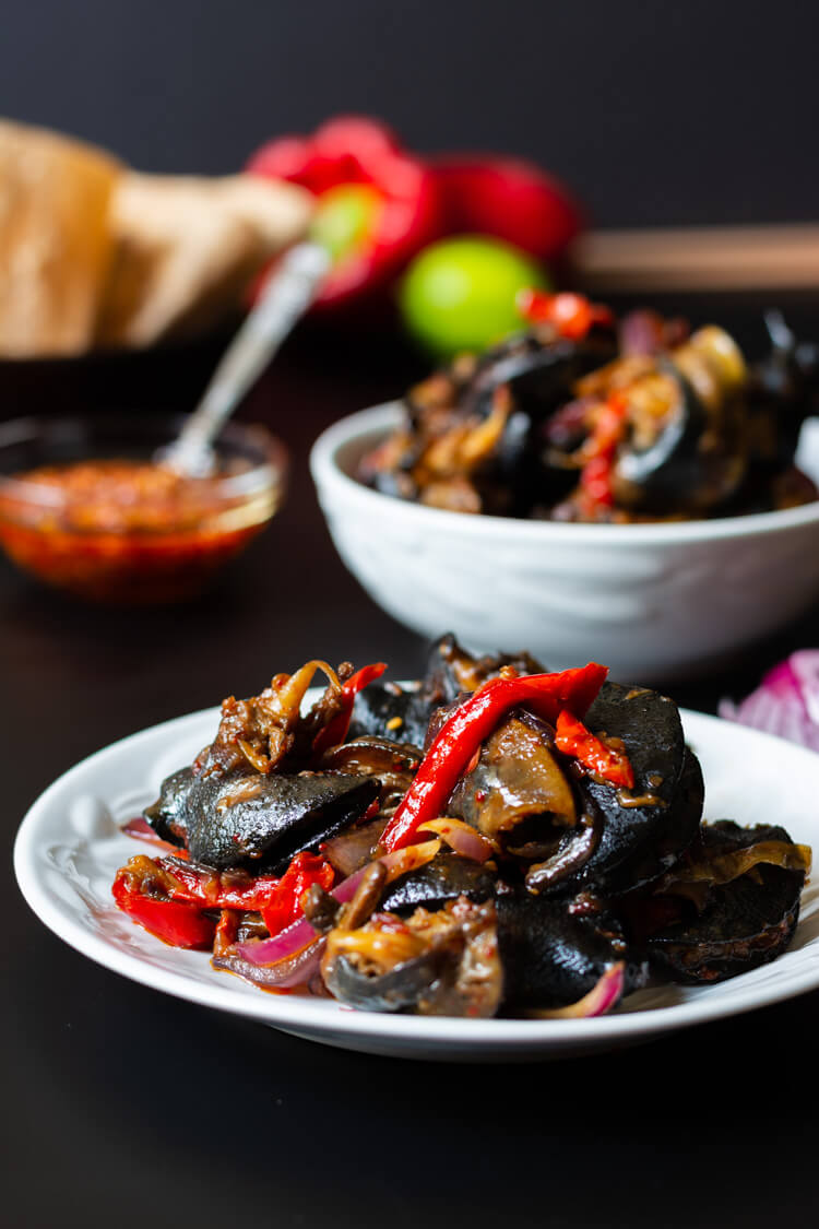 Peppered Snails - double servings on a plate and a bowl