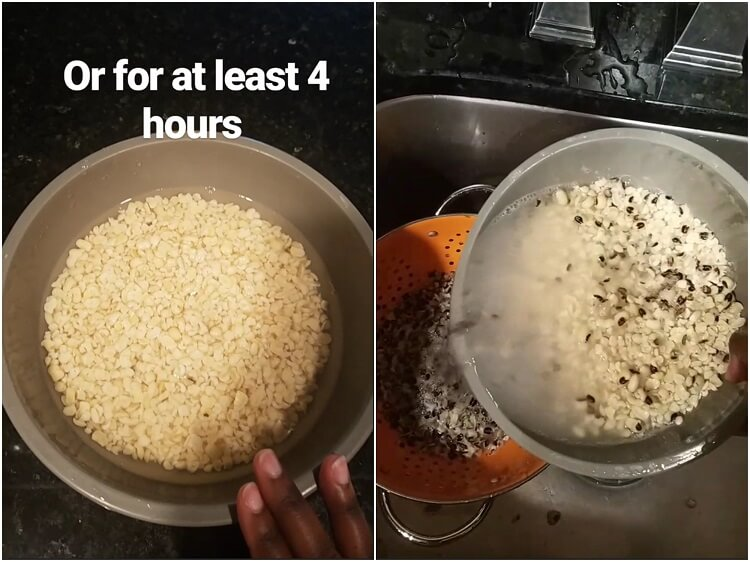 2-step photo showing washing and rinsing of beans