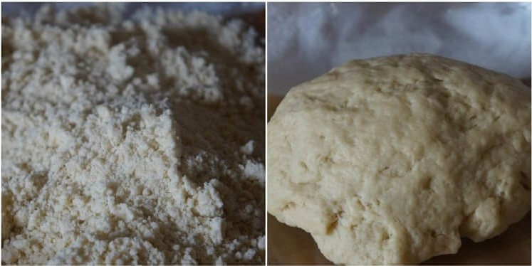 2-step photo showing preparation of dough