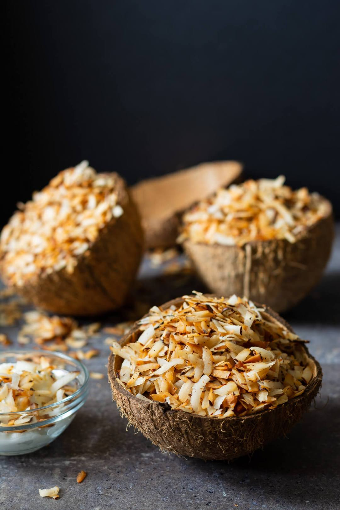 toasted coconut candy served in empty coconut shells