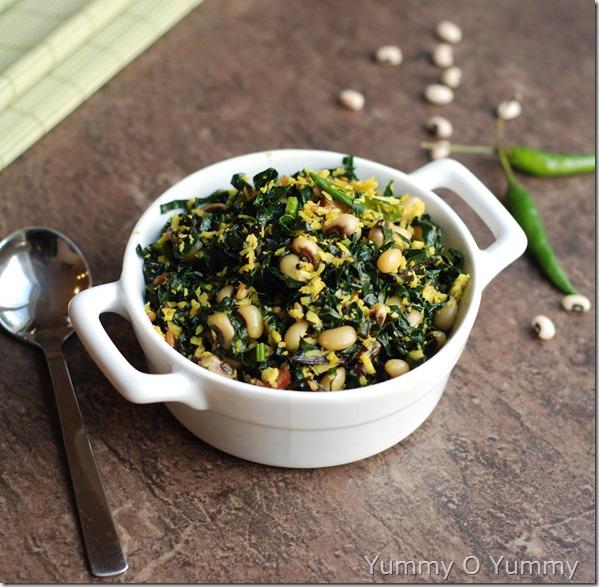 Kale and black eyed pea thoran