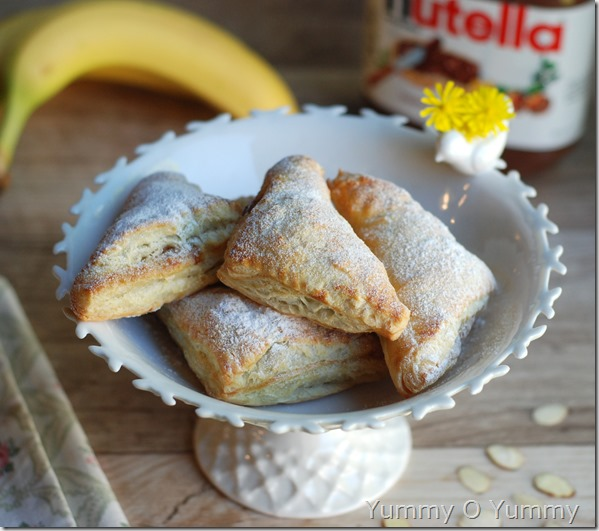 Nutella banana turnovers with puff pastry