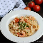 Seafood pasta in a creamy tomato sauce
