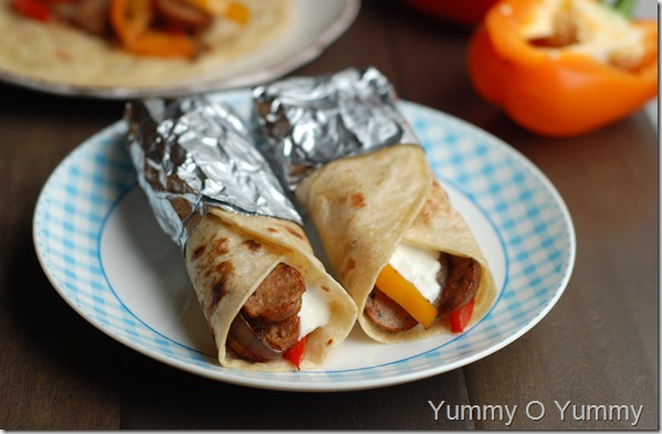 Sausage and peppers wrap