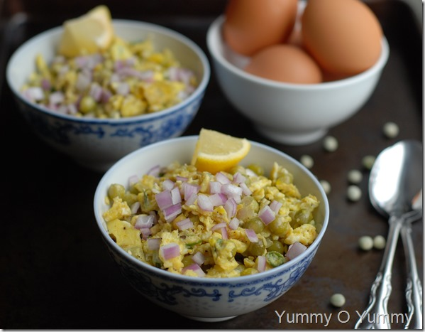 Peas and egg stirfry