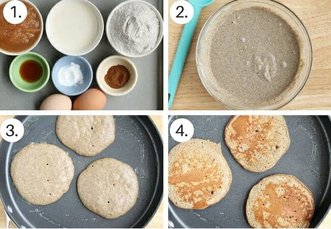 How to make applesauce pancakes step by step process