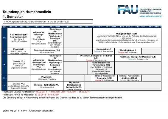 Stundenplan Humanmedizin 1 Semester  Studiendekanat Medizin
