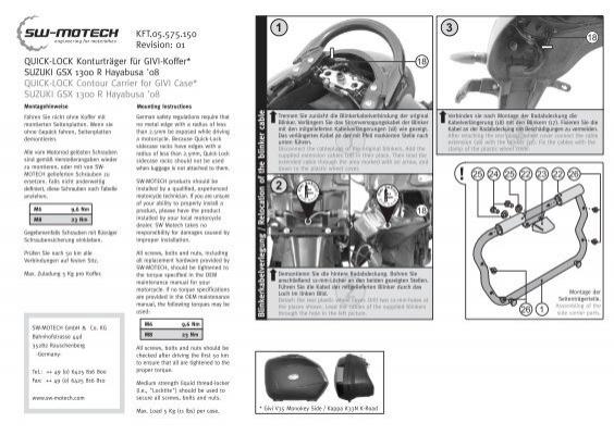 QUICK-LOCK Konturträger für GIVI-Koffer* SUZUKI GSX 1300