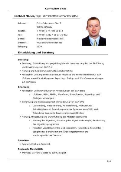 Curriculum Vitae  MM  Michael Mller  SAP Consultant