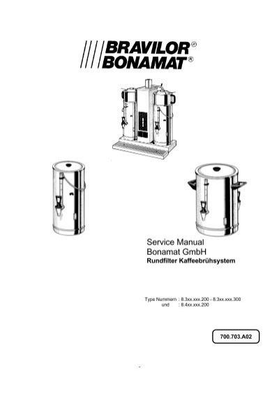 Service Handbuch, Rundfilter Kaffeebrühsystem, Bonamat GmbH
