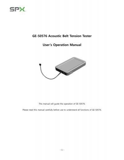 GE-50576 Acoustic Belt Tension Tester User's Operation Manual