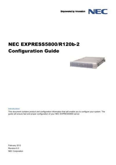NEC EXPRESS5800/R120b-2 Configuration Guide
