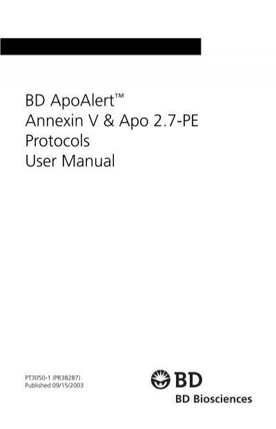 BD ApoAlert Annexin V & Apo 2.7-PE Protocols