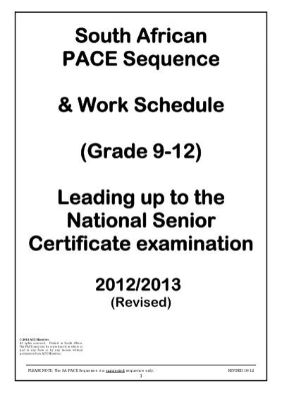 South African PACE Sequence & Work Schedule (Grade 9-12