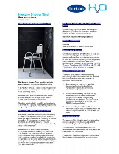 kirton chair accessories toddler time out with buckle neptune shower stool user instructions