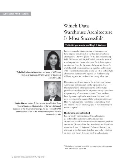 Which Data Warehouse Architecture Is Most Successful?