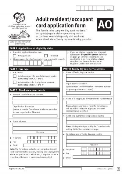 Adult Resident/ occupant blue card application form