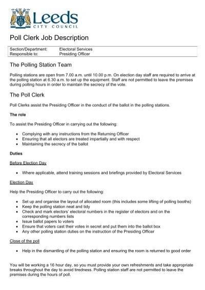 Poll Clerk Job Description