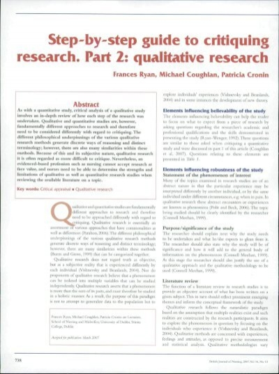 Step By Step Guide To Critiquing Research Part 2 Fatima