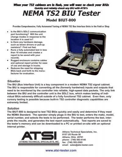 NEMA TS2 BIU Tester Model BIUT800  Temple Inc