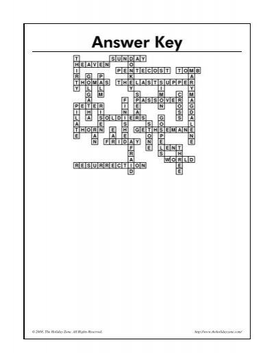 Answer Key T S U N D A Y