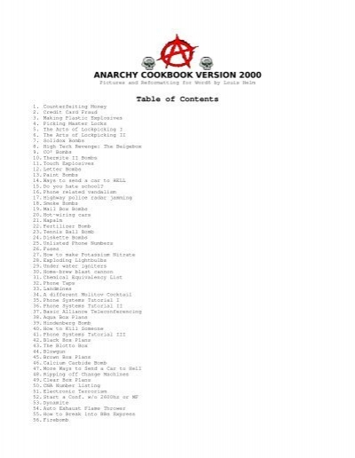 ANARCHY COOKBOOK VERSION 2000 Table of Contents