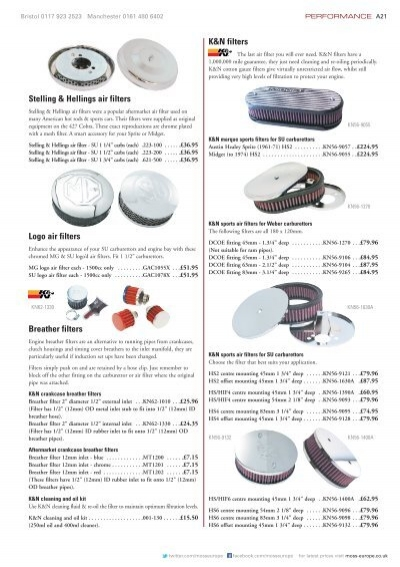 K&N filters Breather filters Stelling & Hellings air