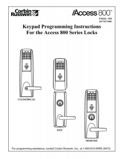 Keypad Programming Instructions For the Access 800 Series