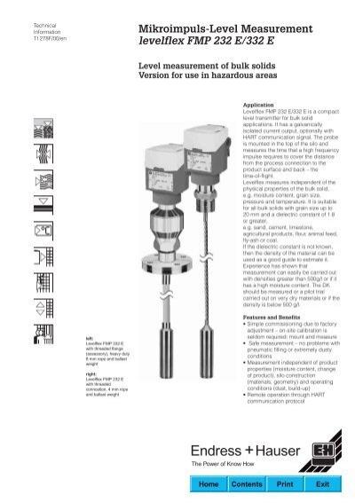 Mikroimpuls-Level Measurement levelflex FMP 232 E/332 E