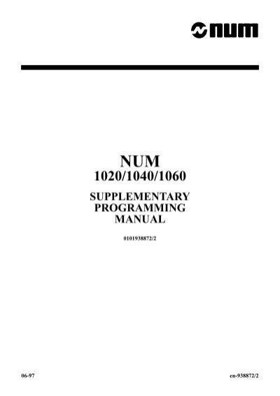 num 1020/1040/1060 supplementary programming manual