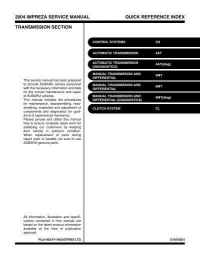 2004 impreza service manual quick reference index
