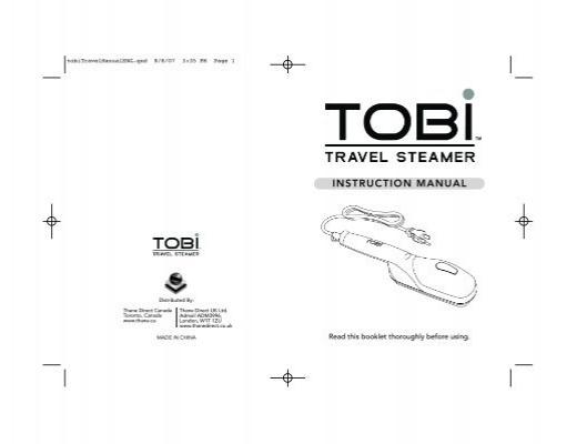 Tobi Travel Steamer Manual De Instrucciones En Español