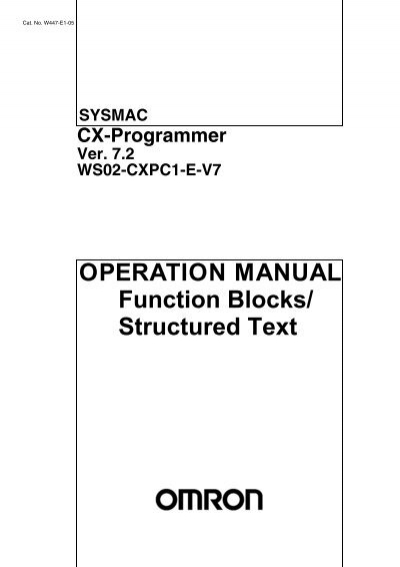 CX-Programmer Ver. 7.2 WS02-CXPC1-E-V7 Operation Manual