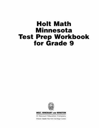 Holt Math Minnesota Test Prep Workbook for Grade 9