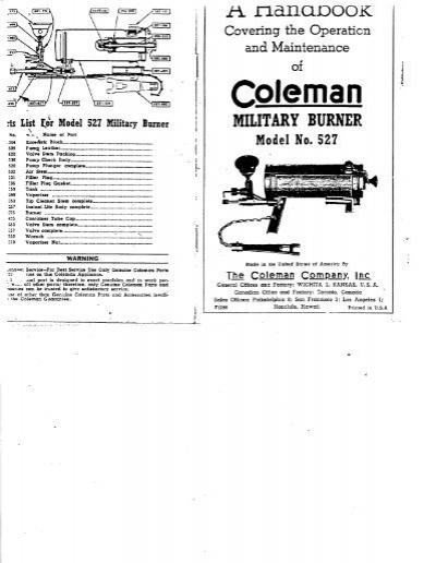 1940's Coleman 527 Burner Instructions