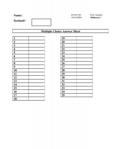 Name: Section#: Multiple Choice Answer Sheet 1 19