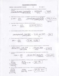 Molarity Molality Mole Fraction Mass Percent Worksheet ...
