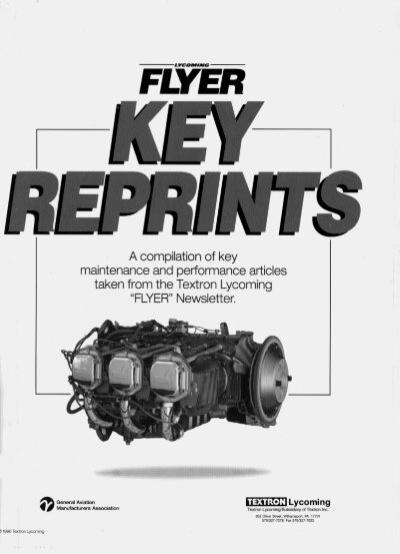 TEXTRON Lycoming FLYER Newsletter's Key Reprints