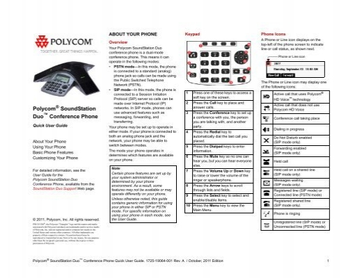Polycom SoundStation Duo Conference Phone Quick User Guide